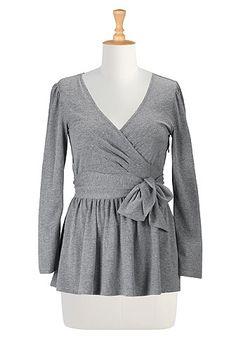 Wrap peplum knit blouse