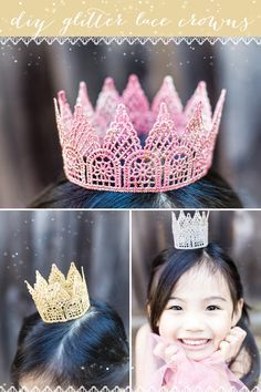 DIY Tutorial: Glitter Lace Crowns. Perfect for cake topper! #DIY #Crowns #Cake | Look around!