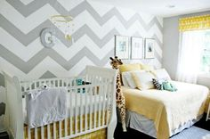 grey & yellow nursery with chevron wall-Love the wall!