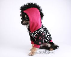 Dog clothes SMALL Mohawk punk Pink dog Hoodie