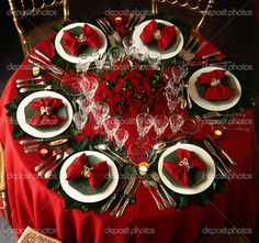 red and white christmas table decorations -  Christmas 2013 tablescape, love it!
