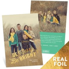 Your photos will look amazing in these Christmas cards with the latest real foil looks! Choose from gold, silver, red, or glitter-gold foil for the 'Be Merry Be Bright' greeting. #christmascards #holidayphotocards #peartreegreetings #foil
