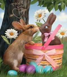 Adorable! This image is a 550 piece jigsaw puzzle by Sunsout and features the Easter bunny meeting a chocolate bunny. I think it would be a perfect gift at Eastertime. #chocolatebunny #easterbunny #jigsawpuzzle