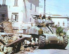 U.S. Sherman tank in the streets of Pisa, Italy, summer 1944 ~