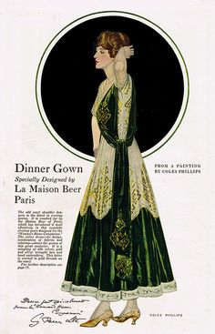 """Coles Phillips - Fashion Page From Woman's Home Companion Magazine (191?) """"Dinner Gown..."""""""