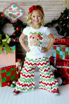 Chevron Red and Green Ruffled Boutique Pants Holiday Christmas Pictures baby toddler girls
