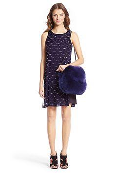 DVF Jocelyn Embellished Shift Dress In Ink/ Black