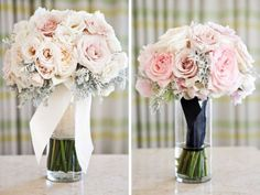 Blush garden bouquets with dusty miller. Adorations Botanical Artisty and Llanes Weddings for Valley & Co.