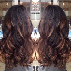 golden caramel balayage'd lights on her dark brown hair  ♥