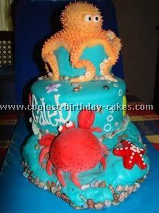 homemade cakes, ocean themes, sea theme, cake designs, summer cakes, octopus cake, baby cakes, ocean cake, birthday cakes