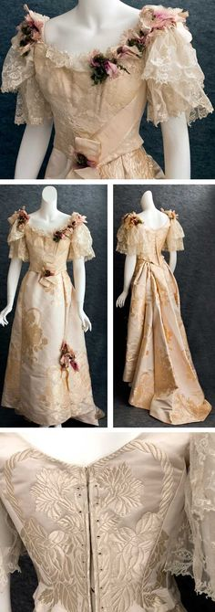 Satin damask ball gown, ca. 1895. Champagne-colored fabric supposedly bought from House of Worth. Bodice is meticulously finished inside à la couture, but skirt is not. Chiffon damask overlay on bodice front has floral pattern that matches flowers in the satin. Bodice is boned and lined with ivory silk taffeta. Lace sleeves and neckline insert. Bodice closes in back with lacings. Skirt has train. Both are embellished with ribbons and bouquets of fabric flowers. Vintage Textile