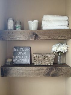 DIY Floating Shelves • Lots of Ideas  Tutorials! including these wonderful diy floating bathroom shelves from 'misadventures of the cranes'.