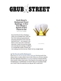 The Peacock and The Shakespeare make Grub Street's Restaurant Power Rankings! Click here for more. http://grb.st/1gAoEOL
