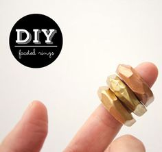 """Wonder if you can push a stone into the clay to fancy it up.....""""DIY Faceted Clay Rings #clay #DIY #copper #gold #brass #jewelry"""""""