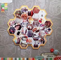 studio calico, layout idea, kelli purkey, photo displays, hexagon photo