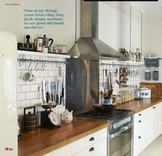 Sarah Ellison / Olly Gordon / Heart Home Magazine {white, wood and steel rustic industrial scandinavian modern kitchen} by recent settlers, via Flickr