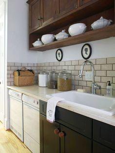 open shelves, cabinet, laundry area, laundry rooms, color patterns, sink, kitchen, laundri room, subway tiles