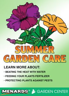 Whether it's vegetable or flower, learn more about caring for your garden this summer. Read full article: http://www.menards.com/main/c-14341.htm?utm_source=pinterest&utm_medium=social&utm_content=summer_garden_care&utm_campaign=gardencenter