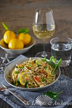 Dungeness Crab Pasta with Wine, Fried Meyer Lemon Slices and Fried Capers