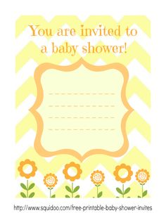 Yellow shower invitation template. Perfect for girls and boys!