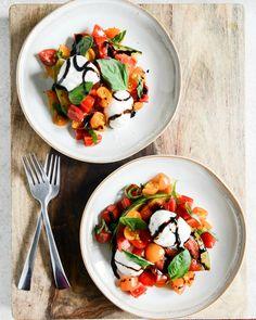 Honey Grilled Watermelon Caprese Salads