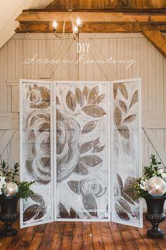 DIY painted screen backdrop! http://ruffledblog.com/diy-screen-painting-backdrop #diyprojects #weddingideas screen paint, painted backdrop, screen crafts, paint backdrop, diy screen, painting screens, screen backdrop, backdrop ideas diy, paint screen