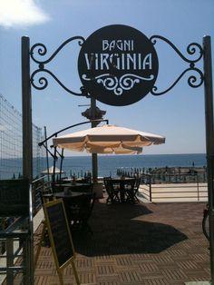 Welcome! Bella insegna in Stile Liberty dei Bagni Virginia a Loano, Liguria.  #beach #spiaggia #liberty #nouveau #essenzadiriviera