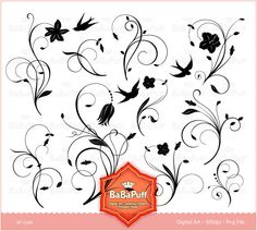 Floral Designs - clip art for scrapbooking, wedding invitation card, Personal and Small Commercial Use. BP 0185. $5.00, via Etsy.