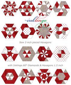 inklingo piec, block wonder, quilt hexagon, hexagon quilt, quilt block, diamond, paper piec, inklingo quilt, piec hexagon