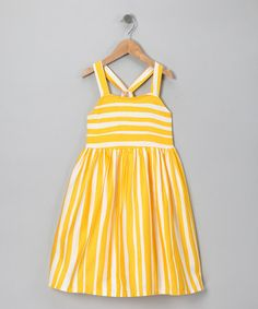 Take a look at this Yellow Stripe Retro Dress - Toddler & Girls  by Donita on #zulily today!