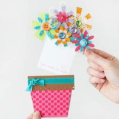 How to make a hidden message pot of flowers card.