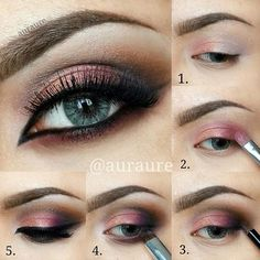 Follow these easy steps to recreate this look! Head over to Pampadour.com to find great products to use to recreate this beauty look. #beauty #makeup #cranberry #red #eyeshadow #cosmetics #beautiful #howto #tutorial