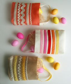 gift bags, craft, treat bags, felt bags, egg hunt, basket, easter eggs, bag tutorials, rick rack