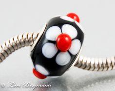 Daisy Lampwork European Charm Bead, BHB, Sterling core, Floral, Handmade SRA. $24.00, via Etsy.