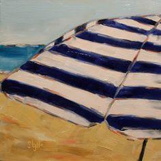 "Sarah B. Lytle Original Oils -""Blue Striped Umbrella"" - 8""x8"" oil on panel - available"