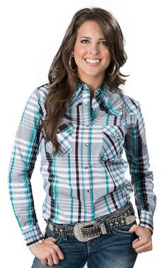 Cowgirl Hardware Women's Multicolor Plaid with Barbwire Zebra Cross Embroidery Long Sleeve Western Shirt