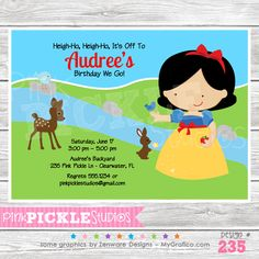 Apple Princess Personalized Party Invitation