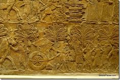 Assyrian relief depicting Ashurbanipal's army after capture of Babylon, c. 650 BC.  Relief now in British Museum.  Notice the pile of heads in the upper center.  This same king put a hook in Manasseh's nose and hauled him off to Babylon (2 Chr 33).