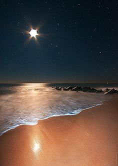 Ocean Moonrise, Vilano Beach, Florida ~ Photo by James Watkins