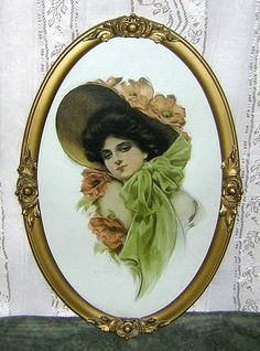 J. Knowles Hare Lithograph of Pretty Woman in Large Hat - 2 of 2 - from madgelee on Ruby Lane