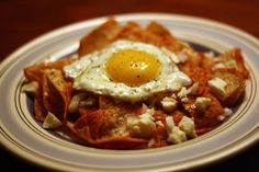 Chilaquiles for breakfast.......Yum!