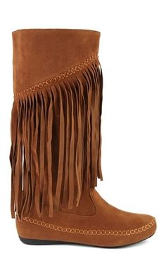 Deb Shops Faux Suede Flat Boot with Fringe Detail $30.00