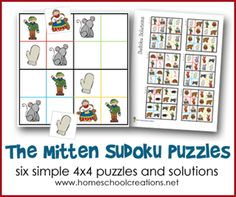 Six simple 4x4 Sudoko puzzles for kids to go along with The Mitten by Jan Brett