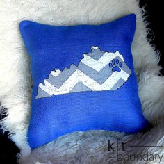 Gray and White Chevron Blue Burlap Pillow with paw print by ktboundary24 on Etsy