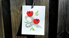 Red Birds Illustration pen and acrylic by LuckiiArts on Etsy, $40.00