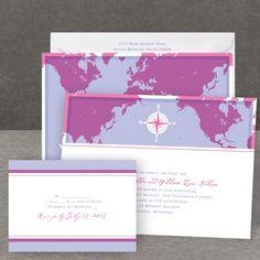 world of romance - map wedding invitation
