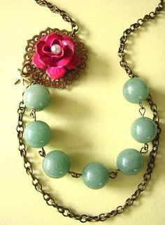 Green Jade Necklace Gemstone Jewelry Pink Flower by zafirenia, $36.00