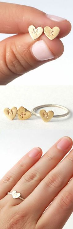 Sweetheart Custom Initial Heart Stud Earrings & Ring Set <3