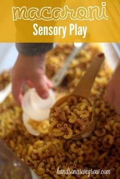 Macaroni Sensory Activity - scoop and pour!