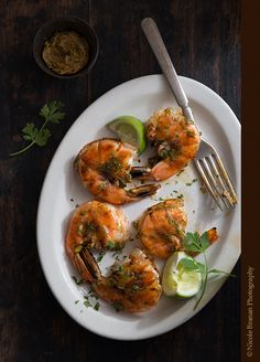 Grilled Shrimp with Ancho Chili Lime Cilantro Butter - The Spice Train